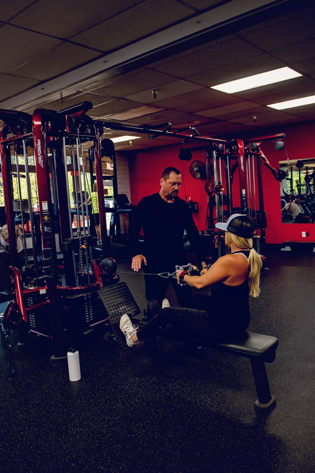 Working with a personal training at Training Zone Gym in Grass Valley